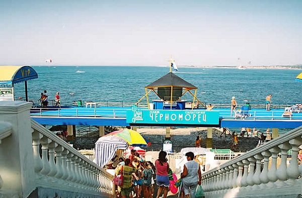 Пляж, прилегающий к территории санатория «Черноморец»