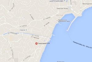 """Местоположение санатория """"Ялта"""" на карте"""