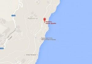 "Местоположение санатория ""Курпаты"" на карте"