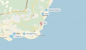 """Расположение санатория """"Парус"""" на карте"""