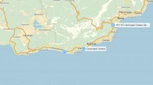 Местоположение санатория «Симеиз» на карте