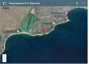 Местоположение санатория им. Крупской на карте