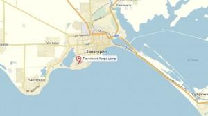 На фото местоположение пансионата на карте