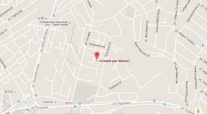 Местоположение гостиницы «Дельта» на карте
