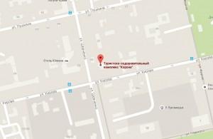 Местоположение отеля «Корона» на карте