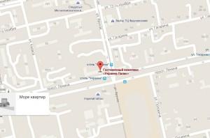 Местоположение отеля «Украина Палас» на карте
