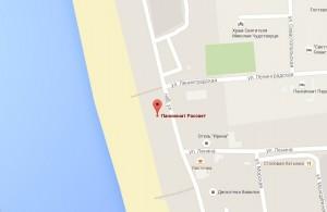 Местоположение пансионата «Рассвет» на карте