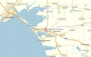 Местоположение санатория Сакрополь на карте