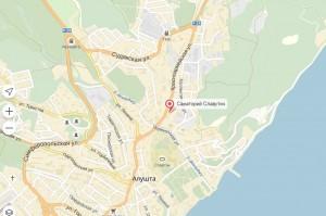 Местонахождения санатория Славутич на карте