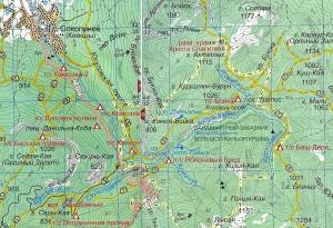 Большой каньон и Соколиное на карте