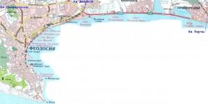 Местоположение Феодосии на карте