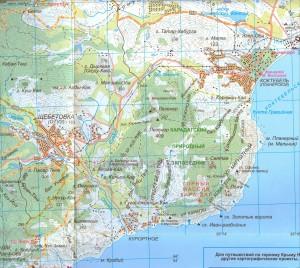 Расположение Коктебеля на карте