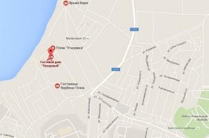 Местоположение пансионата «Лазурь» на карте
